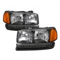 Lighting Products - Headlights & Bumper Lights - Spyder - Spyder® Black Euro Style Headlights w/LED Bumper Lights | 1999-2006 GMC Sierra / 2000-2006 GMC Yukon