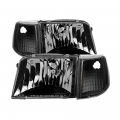Headlights & Bumper Lights - Corner Lights - Spyder - Spyder® Black Euro Headlights w/Corner Lights | 1993-1997 Ford Ranger