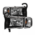 Lighting Products - Headlights & Bumper Lights - Spyder - Spyder® Black Factory Style Headlights w/Corner Lights | 1994-2001 Dodge Ram 1500