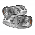 Headlight Housings - Corner Lights - Spyder - Spyder® Chrome Euro Headlights w/Corner Lights | 1997-03 Ford F-150 / 1997-02 Ford Expedition