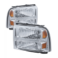 Lighting | Ford F250-F550  - Headlights For Ford F-250 to F-550 - Spyder - Spyder® Chrome Euro Headlights | 2005-2007 Ford Super Duty