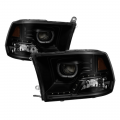 Dodge Ram 1500 Lighting Products - Dodge Ram 1500 Headlights - Spyder - Spyder® Black Smoke Halo Projector Headlights w/LED DRL | 2009-2014 Dodge Ram