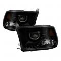 Diesel Truck Parts - Spyder - Spyder® Black Smoke Halo Projector Headlights w/LED DRL   2009-2014 Dodge Ram