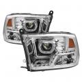 Diesel Truck Parts - Spyder - Spyder® Chrome Halo Projector Headlights w/LED DRL   2009-2014 Dodge Ram