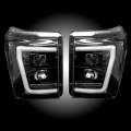 Lighting | Ford F250-F550  - Headlights For Ford F-250 to F-550 - RECON - RECON Black/Smoke Projector Headlights w/Ultra High Power OLED HALO'S & DRL | 2011-2016 Ford Super Duty