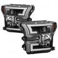 Lighting Products - Headlights & Bumper Lights - Spyder - Spyder® Black LED U-Bar Projector Headlights | 2015-2017 Ford F-150