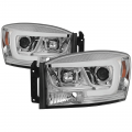 Dodge Ram 1500 Lighting Products - Dodge Ram 1500 Headlights - Spyder - Spyder® Chrome LED DRL Bar Projector Headlights | 06-08 Dodge Ram 1500 / 06-09 Dodge Ram 2500/3500
