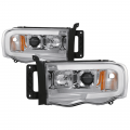 Lighting Products - Headlights & Bumper Lights - Spyder - Spyder® Chrome LED DRL Bar Projector Headlights | 2002-2005 Dodge Ram
