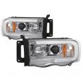 Lighting Products - Headlights & Bumper Lights - Spyder - Spyder® Chrome LED DRL Bar Projector Headlights | 2002-2005 Dodge Ram