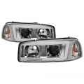 GMC Sierra 1500 Lighting Products - GMC Sierra 1500 Headlights - Spyder - Spyder® Chrome LED DRL Bar Projector Headlights | 1999-2006 GMC Sierra/Yukon