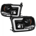 Dodge Ram 1500 Lighting Products - Dodge Ram 1500 Headlights - Spyder - Spyder® Black LED DRL Bar Projector Headlights | 2009-2016 Dodge Ram