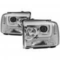 Lighting | Ford F250-F550  - Headlights For Ford F-250 to F-550 - Spyder - Spyder® Chrome LED DRL Bar Projector Headlights | 2005-2007 Ford Super Duty