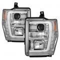 Lighting Products - Headlights & Bumper Lights - Spyder - Spyder® Chrome LED DRL Bar Projector Headlights | 2008-2010 Ford Super Duty