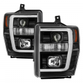 Lighting | Ford F250-F550  - Headlights For Ford F-250 to F-550 - Spyder - Spyder® Black LED DRL Bar Projector Headlights | 2008-2010 Ford Super Duty