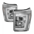 Lighting | Ford F250-F550  - Headlights For Ford F-250 to F-550 - Spyder - Spyder® Chrome LED DRL Bar Projector Headlights | 2011-2016 Ford Super Duty