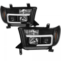 Toyota Tundra Landing Page - Toyota Tundra Lighting Products - Spyder - Spyder® Black LED DRL Bar Projector Headlights | 2007-2013 Toyota Tundra/Sequoia