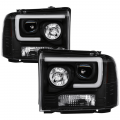Lighting | Ford F250-F550  - Headlights For Ford F-250 to F-550 - Spyder - Spyder® Black LED DRL Bar Projector Headlights | 2005-2007 Ford Super Duty