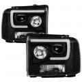 Lighting Products - Headlights & Bumper Lights - Spyder - Spyder® Black LED DRL Bar Projector Headlights | 2005-2007 Ford Super Duty