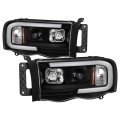 Lighting Products - Headlights & Bumper Lights - Spyder - Spyder® Black LED DRL Bar Projector Headlights | 2002-2005 Dodge Ram