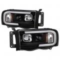 Lighting Products - Headlights & Bumper Lights - Spyder - Spyder® Black LED DRL Bar Projector Headlights | 2002-2005 Dodge Ram