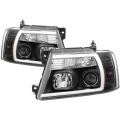 Lighting Products - Headlights & Bumper Lights - Spyder - Spyder® Black LED U-Bar Projector Headlights | 2004-2008 Ford F-150