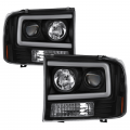 Lighting Products - Headlights & Bumper Lights - Spyder - Spyder® Black LED U-Bar Projector Headlights | 1999-2004 Ford Super Duty