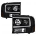 Lighting Products - Headlights & Bumper Lights - Spyder - Spyder® Black LED U-Bar Projector Headlights | 1999-2004 Ford Super Duty
