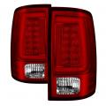 Lighting Products - Tail Lights - Spyder - Spyder® Chrome/Red Fiber Optic LED Tail Lights | 2013-2018 Dodge Ram w/Factory LED