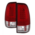 Lighting | Ford F250-F550  - Tail Lights For Ford F-250 to F-550  - Spyder - Spyder® Red/Clear Fiber Optic LED Tail Lights | 1999-2007 Ford Super Duty