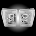 Lighting Products - Headlights & Bumper Lights - RECON - RECON Clear/Chrome Projector Headlights w/Ultra High Power OLED HALO'S & DRL | 2011-2016 Ford Super Duty