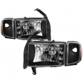 Dodge Ram 1500 Lighting Products - Dodge Ram 1500 Headlights - Spyder - Spyder® Black Factory Style Headlights w/Corner Lights | 1994-2002 Dodge Ram
