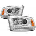 Lighting Products - Tail Lights - Spyder - Spyder® Chrome Factory Style Projector Headlights w/LED Turn Signal | 2013-2017 Dodge Ram