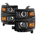 Lighting - Tail Lights - Spyder - Spyder® Black Factory Style Projector Headlights | 2014-2015 Chevy Silverado 1500