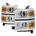 Chevrolet Silverado / Sierra Lighting Products - Chevrolet Silverado 1500 Tail Lights  - Spyder - Spyder® Chrome Factory Style Projector Headlights | 2014-2015 Chevy Silverado 1500